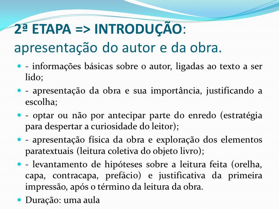 2ª ETAPA => INTRODUÇÃO: apresentação do autor e da obra.