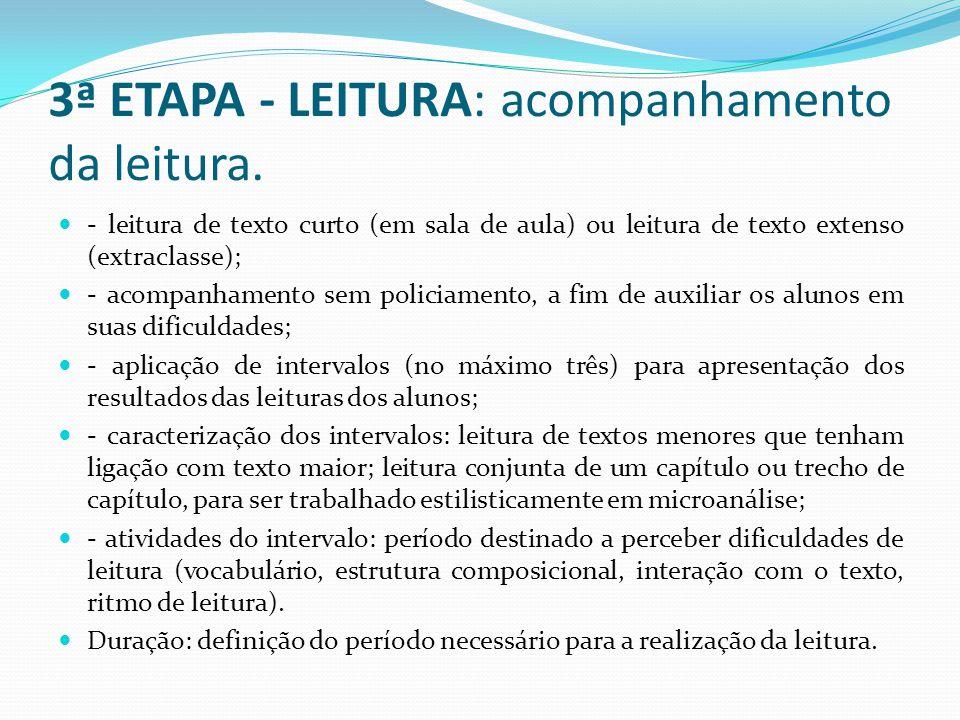 3ª ETAPA - LEITURA: acompanhamento da leitura.