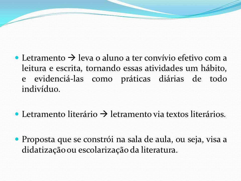 Letramento  leva o aluno a ter convívio efetivo com a leitura e escrita, tornando essas atividades um hábito, e evidenciá-las como práticas diárias de todo indivíduo.
