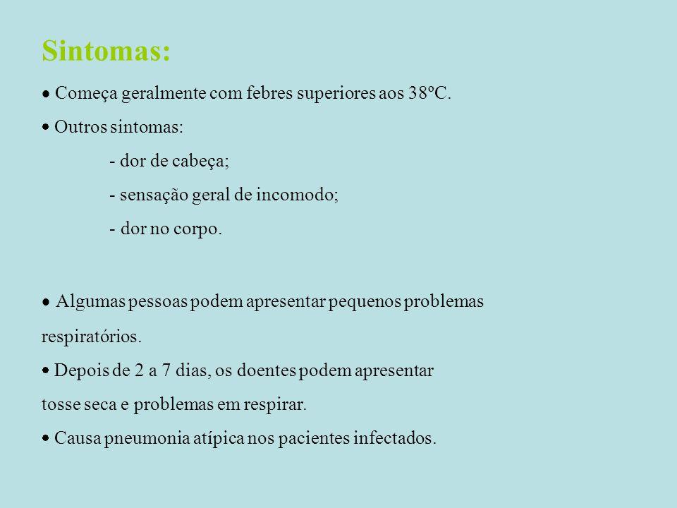 Sintomas:  Começa geralmente com febres superiores aos 38ºC.