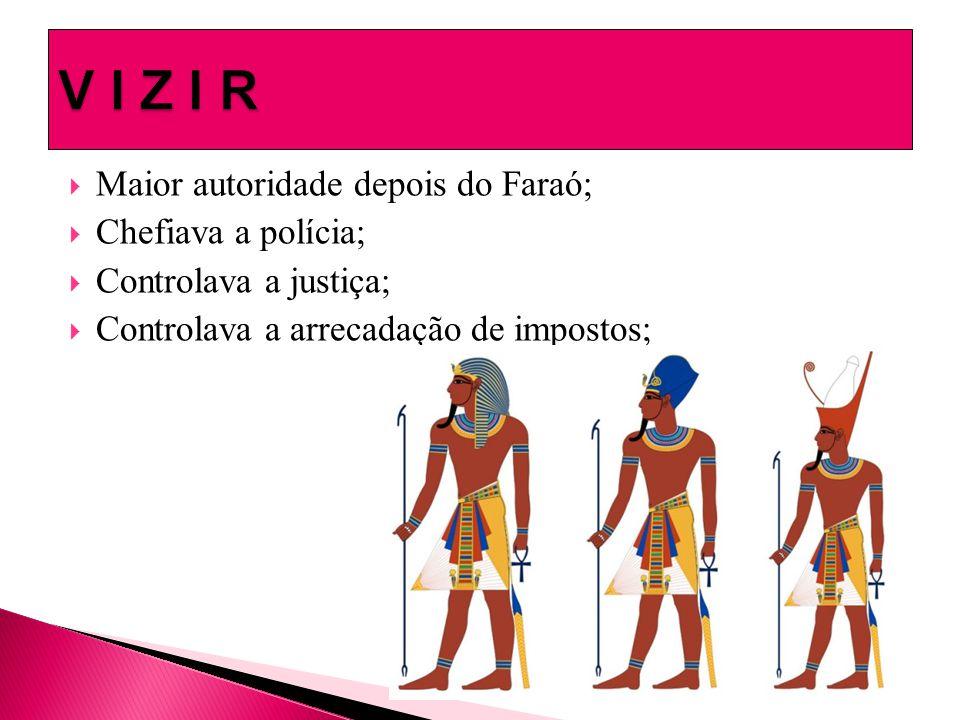 V I Z I R Maior autoridade depois do Faraó; Chefiava a polícia;