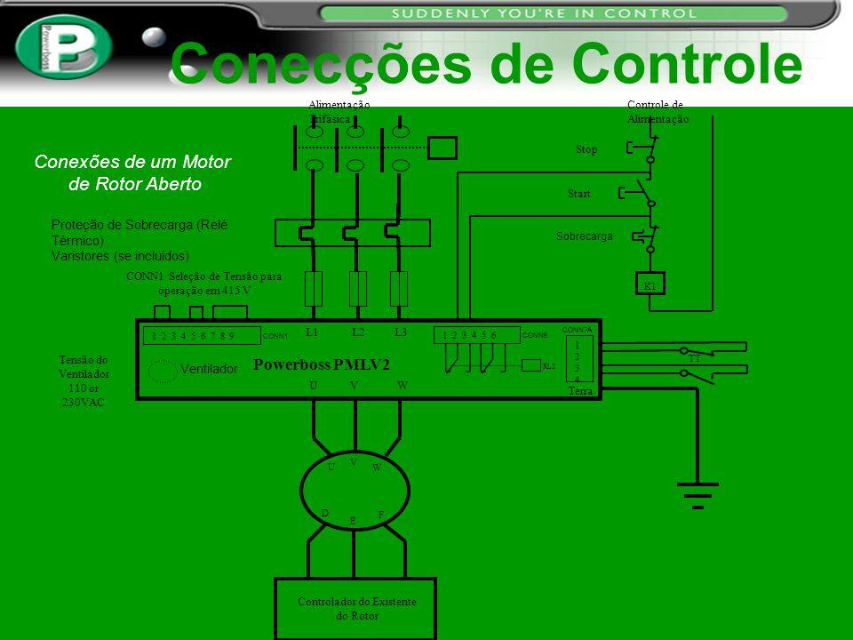 Conecções de Controle Conexões de um Motor de Rotor Aberto