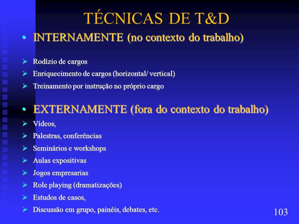 TÉCNICAS DE T&D INTERNAMENTE (no contexto do trabalho)