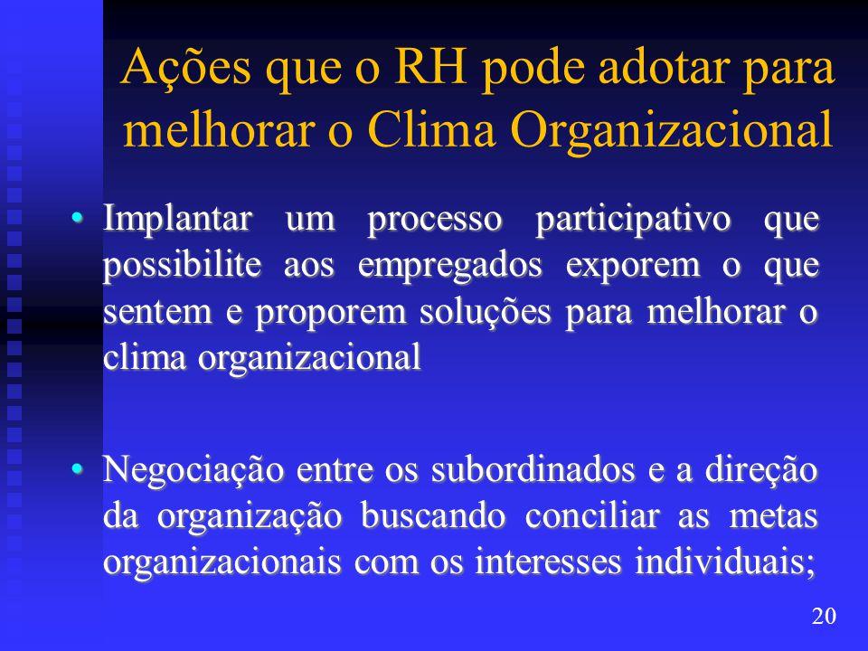 Ações que o RH pode adotar para melhorar o Clima Organizacional