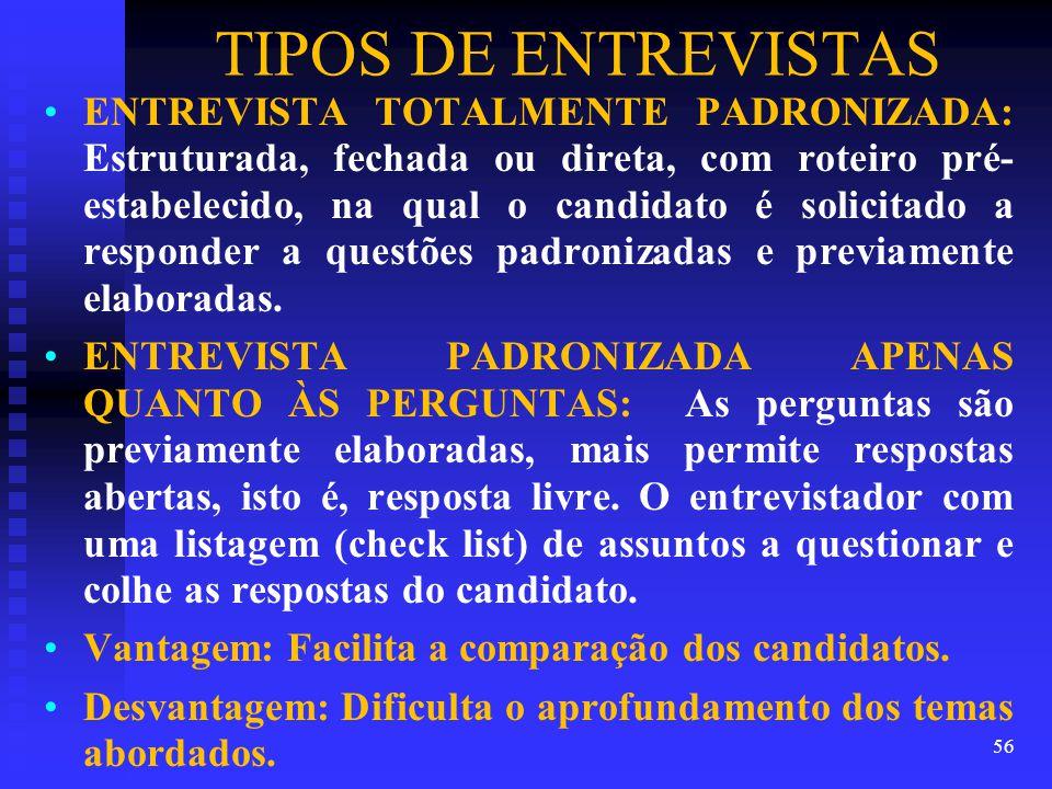 TIPOS DE ENTREVISTAS
