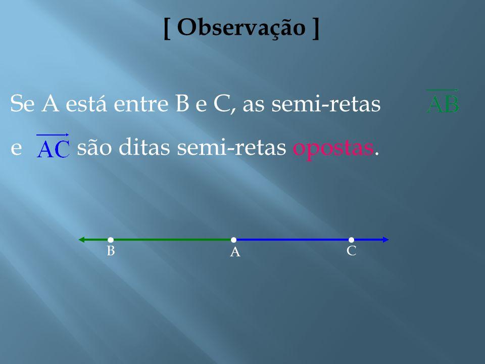 Se A está entre B e C, as semi-retas e são ditas semi-retas opostas.