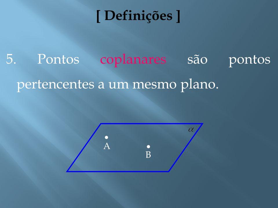 5. Pontos coplanares são pontos pertencentes a um mesmo plano.
