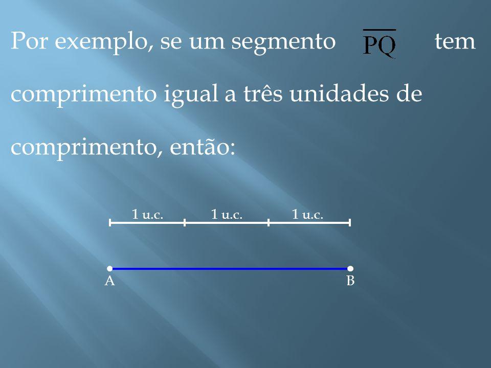 Por exemplo, se um segmento tem comprimento igual a três unidades de comprimento, então: