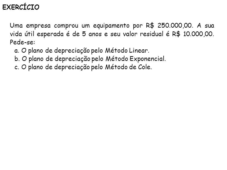 EXERCÍCIO Uma empresa comprou um equipamento por R$ 250.000,00. A sua vida útil esperada é de 5 anos e seu valor residual é R$ 10.000,00. Pede-se: