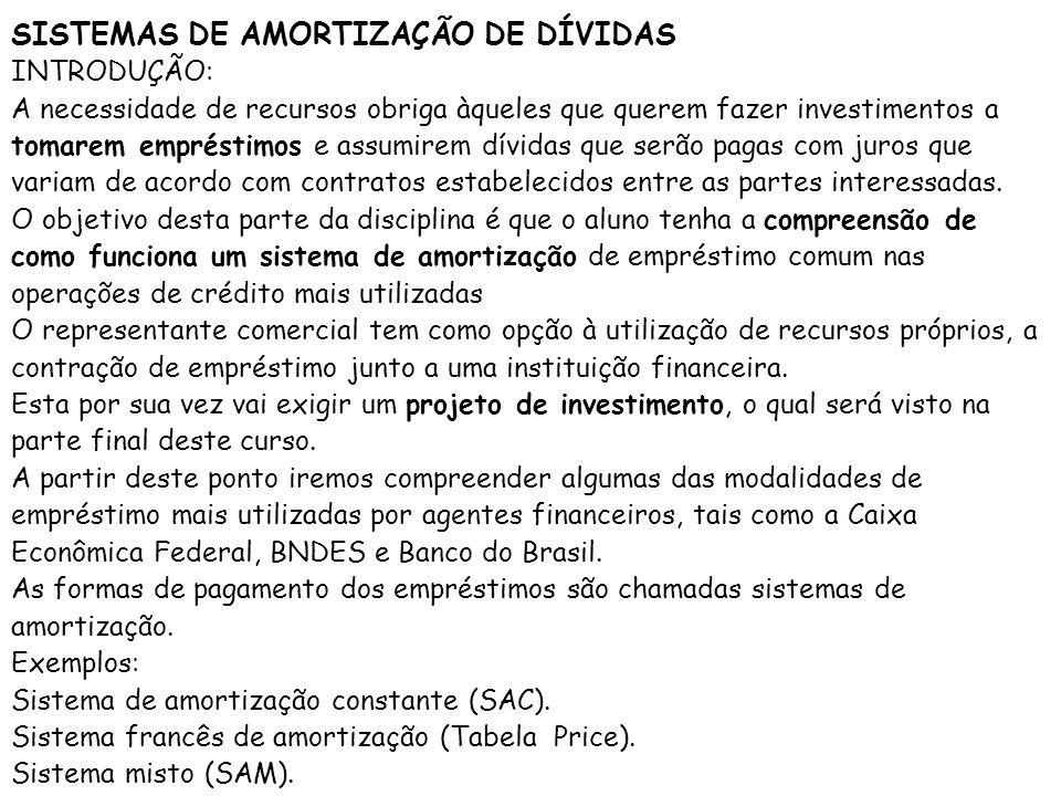 SISTEMAS DE AMORTIZAÇÃO DE DÍVIDAS