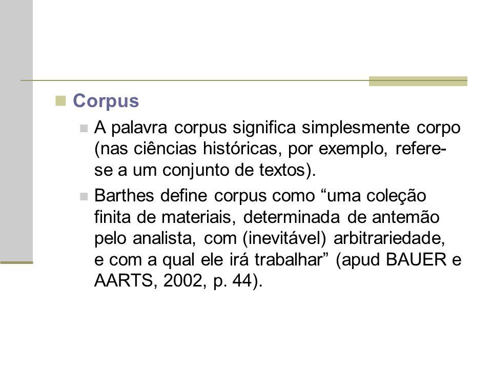 Corpus A palavra corpus significa simplesmente corpo (nas ciências históricas, por exemplo, refere-se a um conjunto de textos).