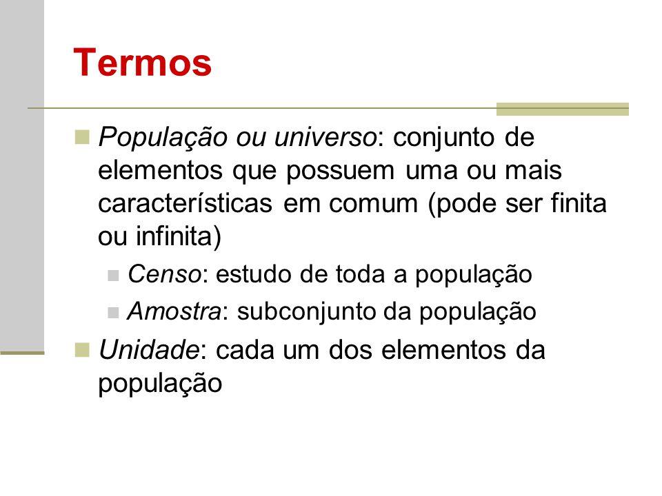 Termos População ou universo: conjunto de elementos que possuem uma ou mais características em comum (pode ser finita ou infinita)