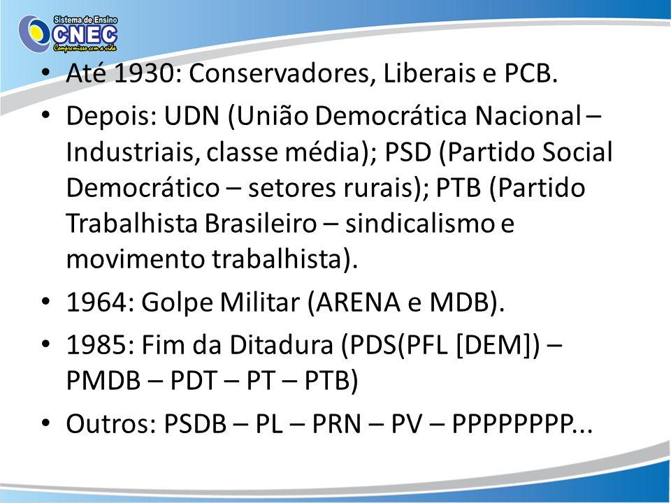 Até 1930: Conservadores, Liberais e PCB.