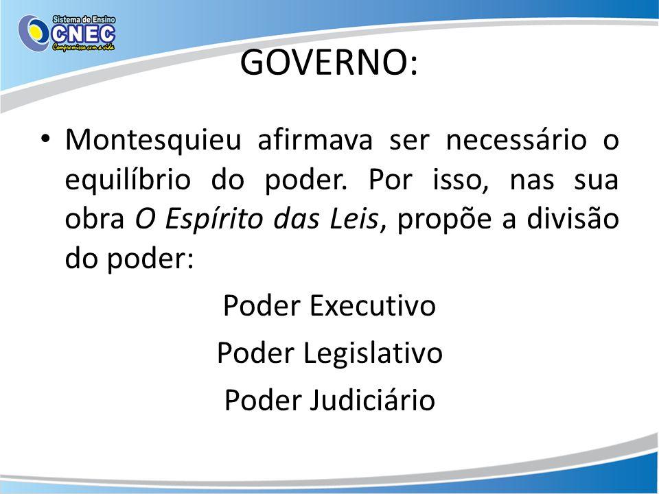 GOVERNO: Montesquieu afirmava ser necessário o equilíbrio do poder. Por isso, nas sua obra O Espírito das Leis, propõe a divisão do poder: