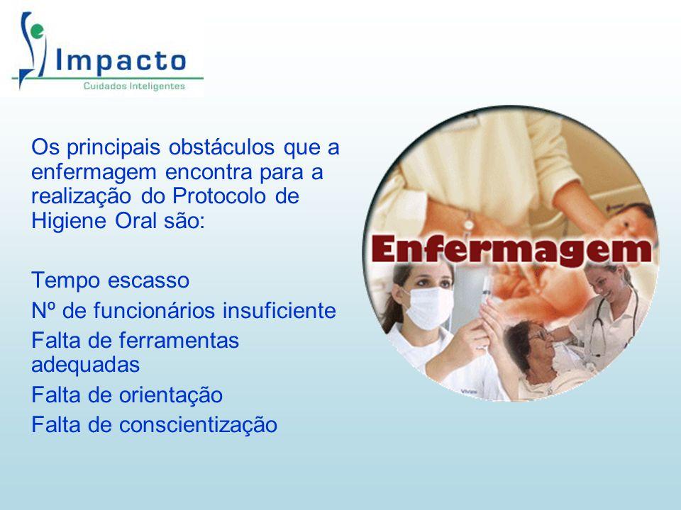 Os principais obstáculos que a enfermagem encontra para a realização do Protocolo de Higiene Oral são: