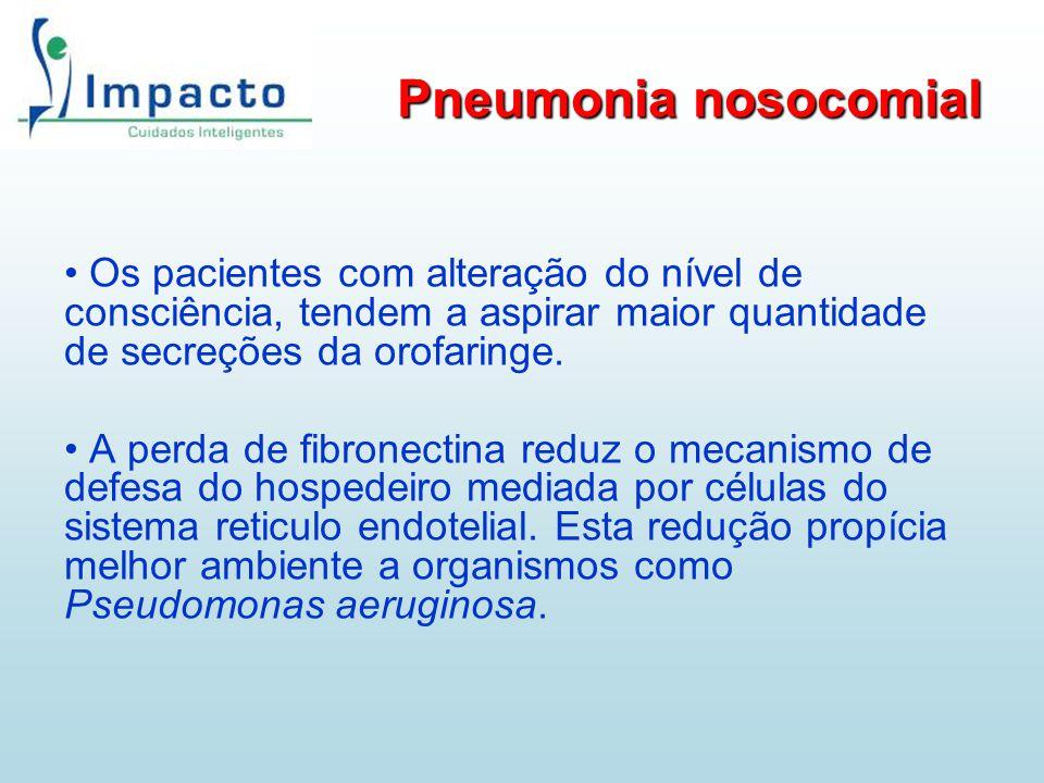 Pneumonia nosocomial Os pacientes com alteração do nível de consciência, tendem a aspirar maior quantidade de secreções da orofaringe.