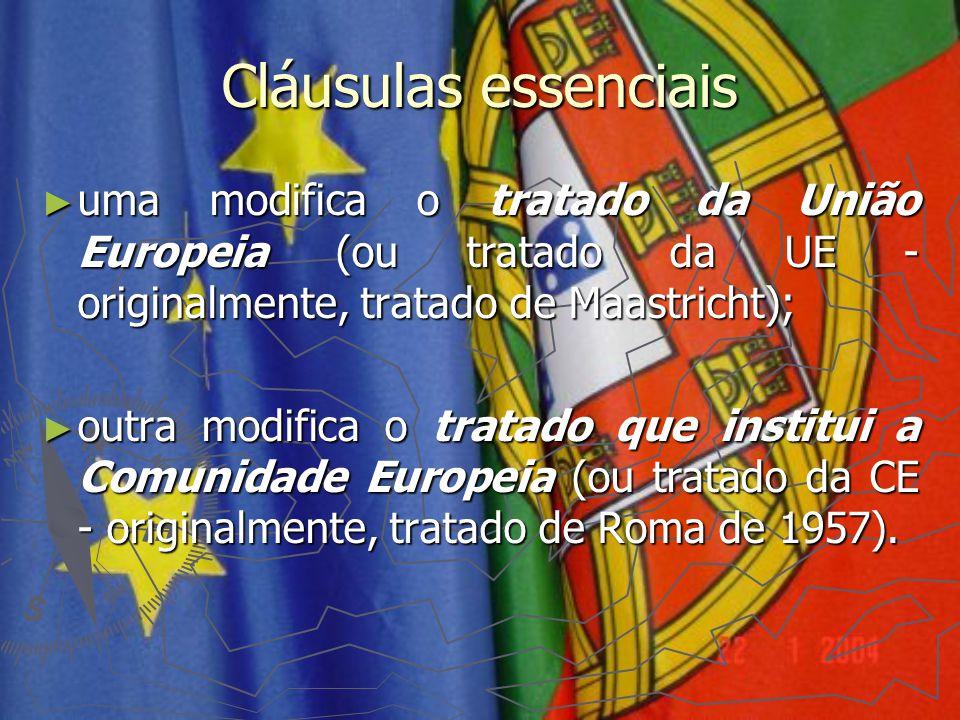 Cláusulas essenciais uma modifica o tratado da União Europeia (ou tratado da UE - originalmente, tratado de Maastricht);