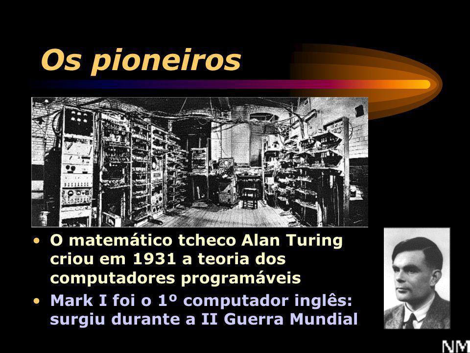 Os pioneiros O matemático tcheco Alan Turing criou em 1931 a teoria dos computadores programáveis.