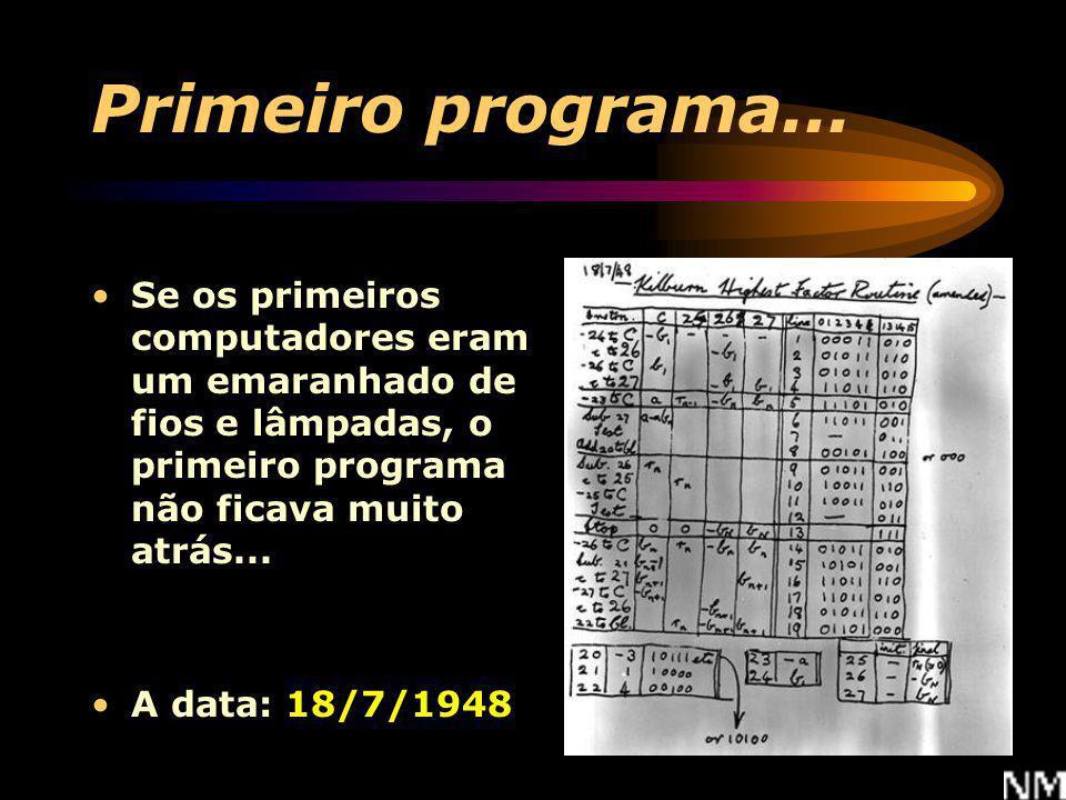 Primeiro programa... Se os primeiros computadores eram um emaranhado de fios e lâmpadas, o primeiro programa não ficava muito atrás...
