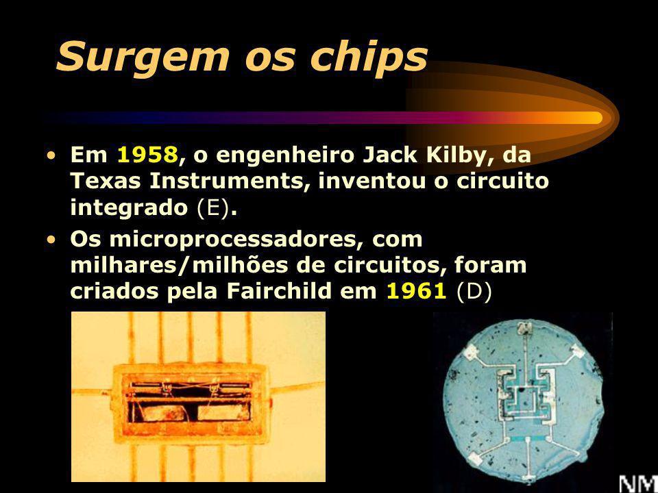 Surgem os chips Em 1958, o engenheiro Jack Kilby, da Texas Instruments, inventou o circuito integrado (E).
