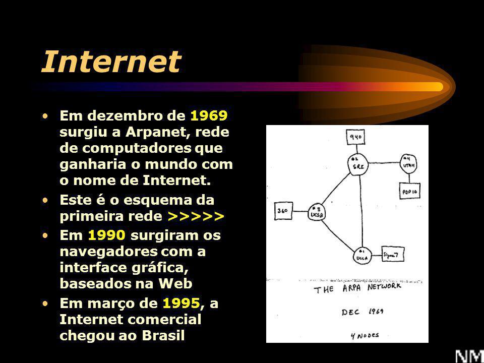 Internet Em dezembro de 1969 surgiu a Arpanet, rede de computadores que ganharia o mundo com o nome de Internet.