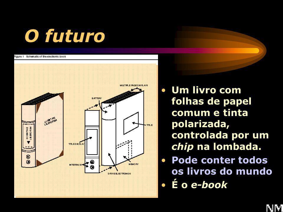 O futuro Um livro com folhas de papel comum e tinta polarizada, controlada por um chip na lombada. Pode conter todos os livros do mundo.