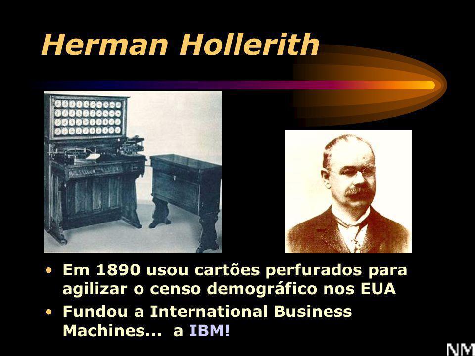 Herman Hollerith Em 1890 usou cartões perfurados para agilizar o censo demográfico nos EUA.