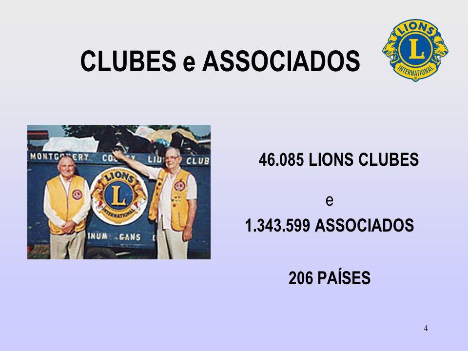 46.085 LIONS CLUBES CLUBES e ASSOCIADOS e 1.343.599 ASSOCIADOS