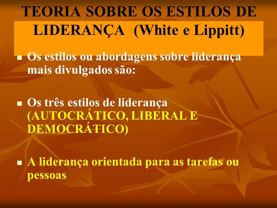 TEORIA SOBRE OS ESTILOS DE LIDERANÇA (White e Lippitt)
