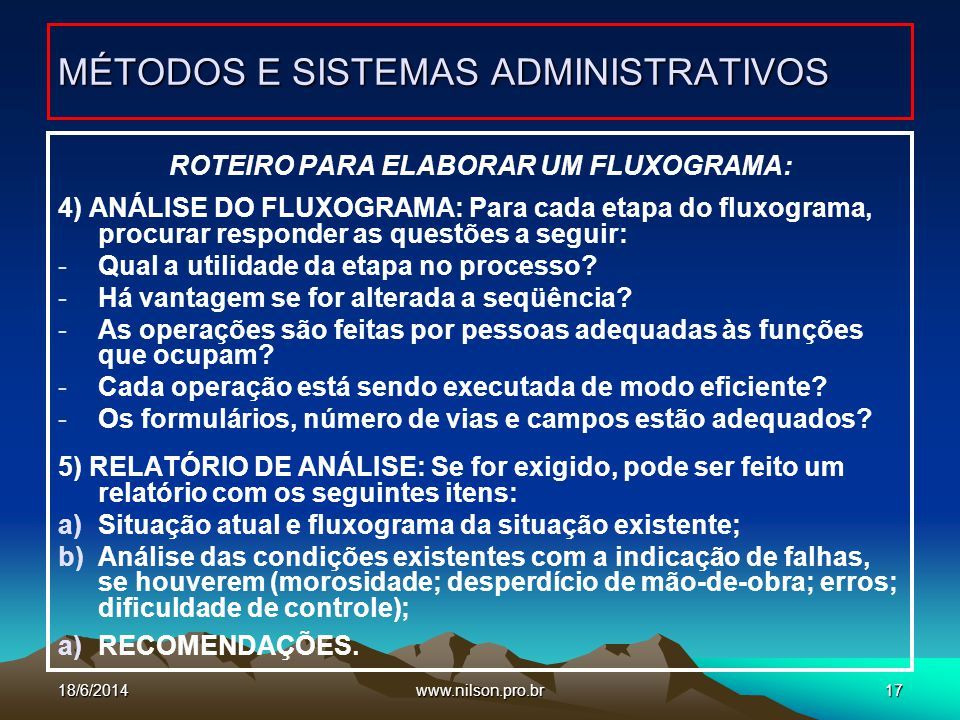 MÉTODOS E SISTEMAS ADMINISTRATIVOS