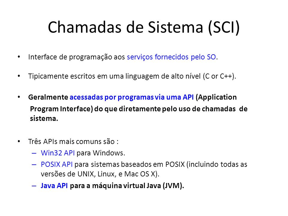 Chamadas de Sistema (SCI)