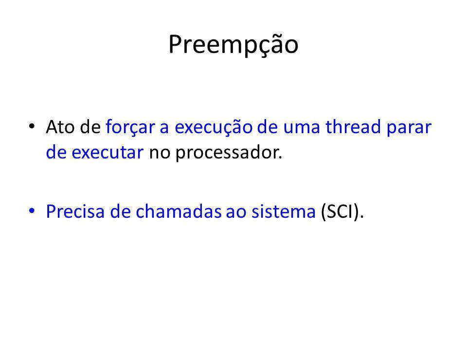 Preempção Ato de forçar a execução de uma thread parar de executar no processador.