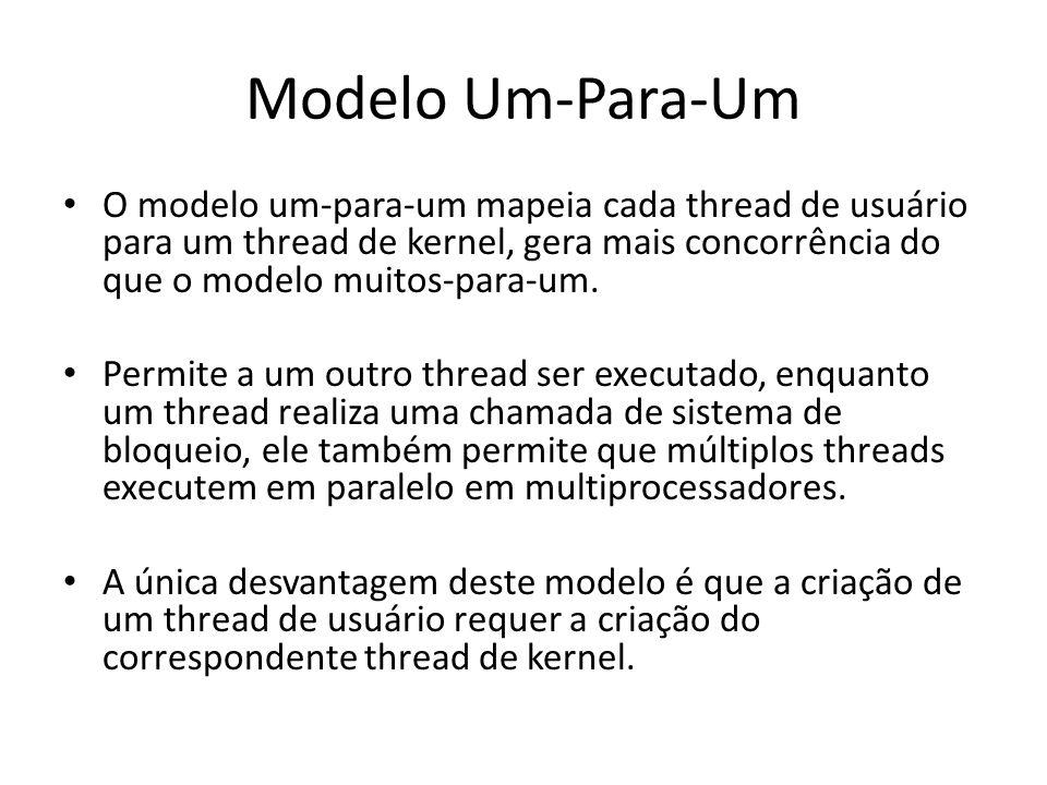 Modelo Um-Para-Um O modelo um-para-um mapeia cada thread de usuário para um thread de kernel, gera mais concorrência do que o modelo muitos-para-um.