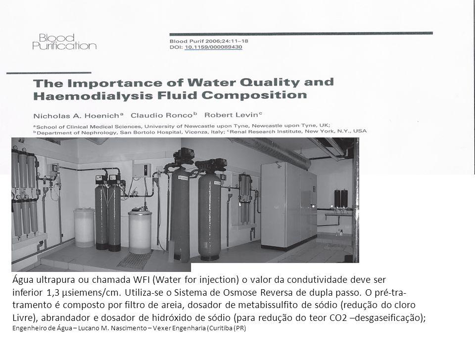 Água ultrapura ou chamada WFI (Water for injection) o valor da condutividade deve ser