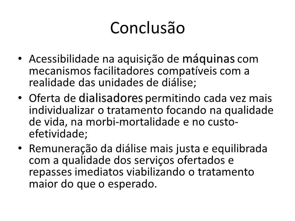 Conclusão Acessibilidade na aquisição de máquinas com mecanismos facilitadores compatíveis com a realidade das unidades de diálise;