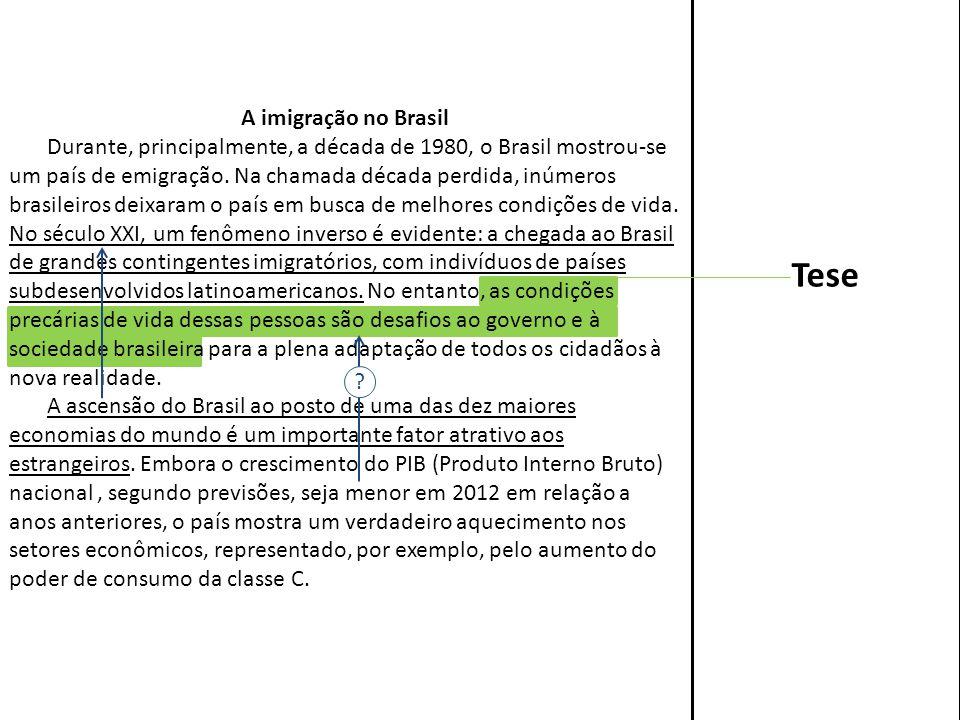 Tese A imigração no Brasil
