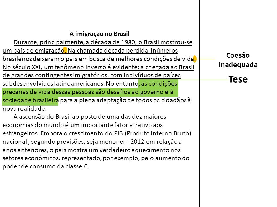 Tese Coesão Inadequada A imigração no Brasil
