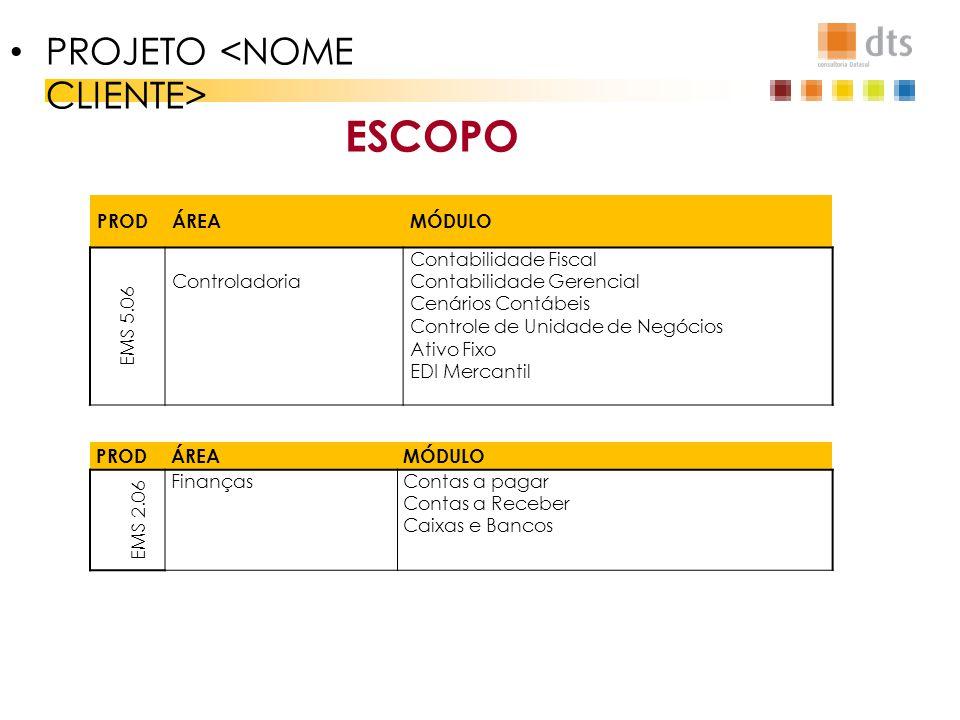 ESCOPO PROJETO <NOME CLIENTE> PROD ÁREA MÓDULO EMS 5.06