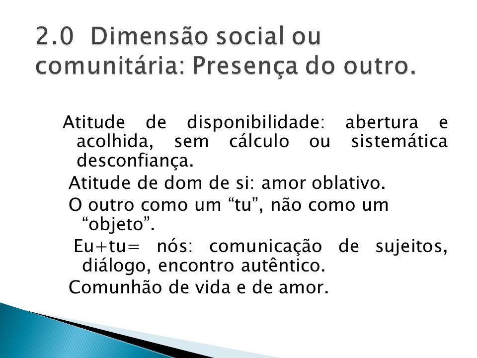 2.0 Dimensão social ou comunitária: Presença do outro.