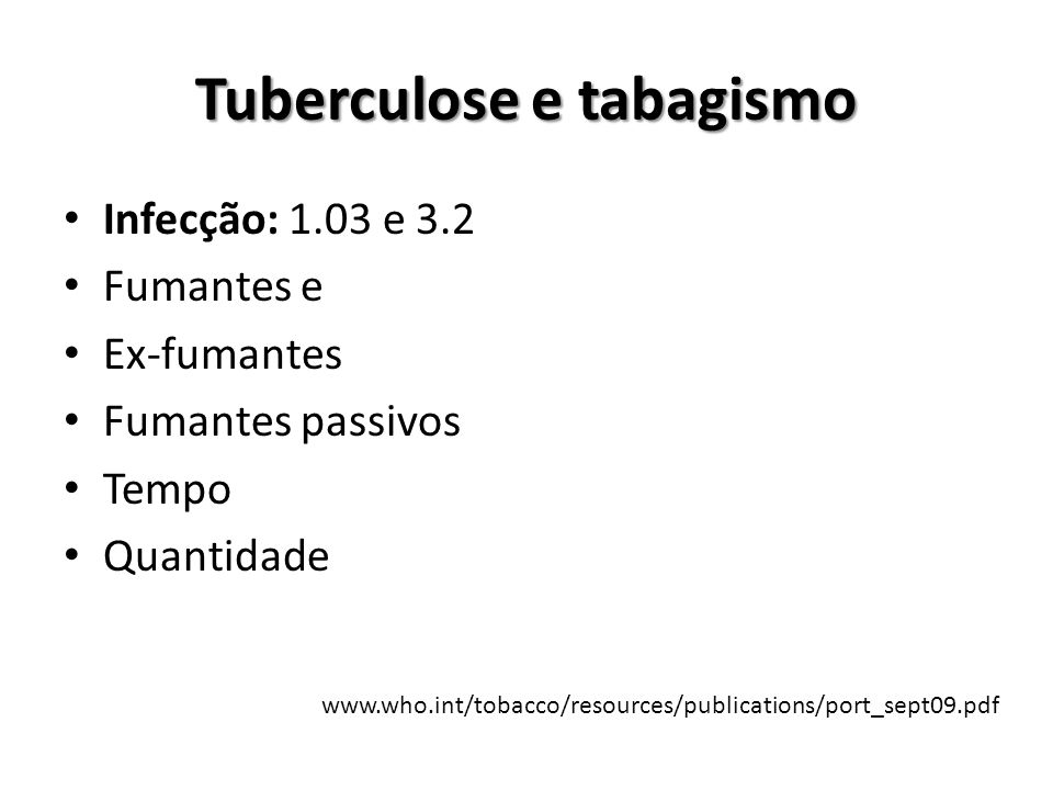 Tuberculose e tabagismo