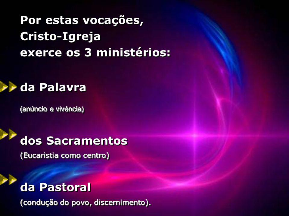Por estas vocações, Cristo-Igreja exerce os 3 ministérios: