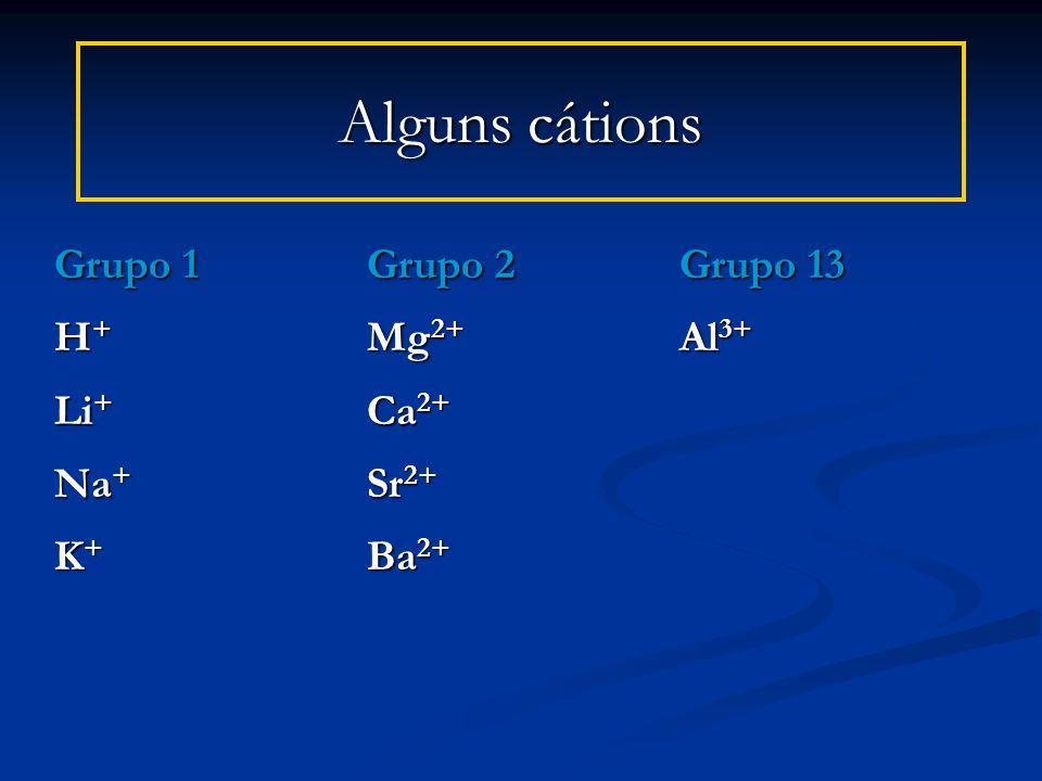 Alguns cátions Grupo 1 Grupo 2 Grupo 13 H+ Mg2+ Al3+ Li+ Ca2+ Na+ Sr2+