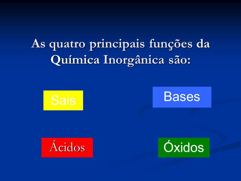 As quatro principais funções da Química Inorgânica são: