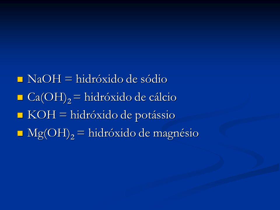NaOH = hidróxido de sódio