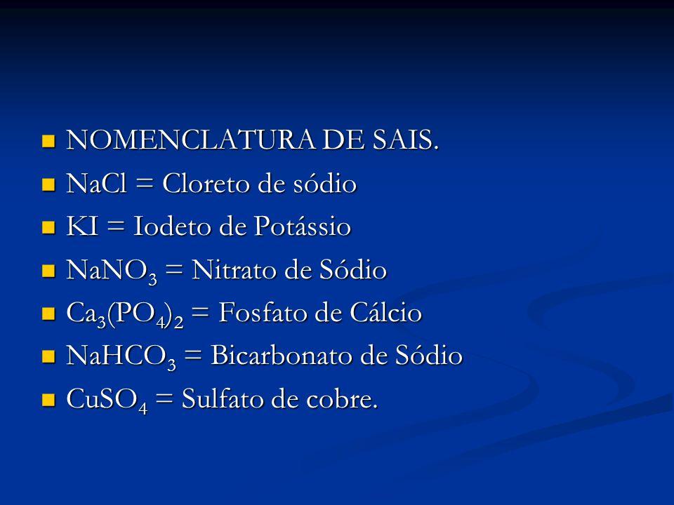 NOMENCLATURA DE SAIS. NaCl = Cloreto de sódio. KI = Iodeto de Potássio. NaNO3 = Nitrato de Sódio.