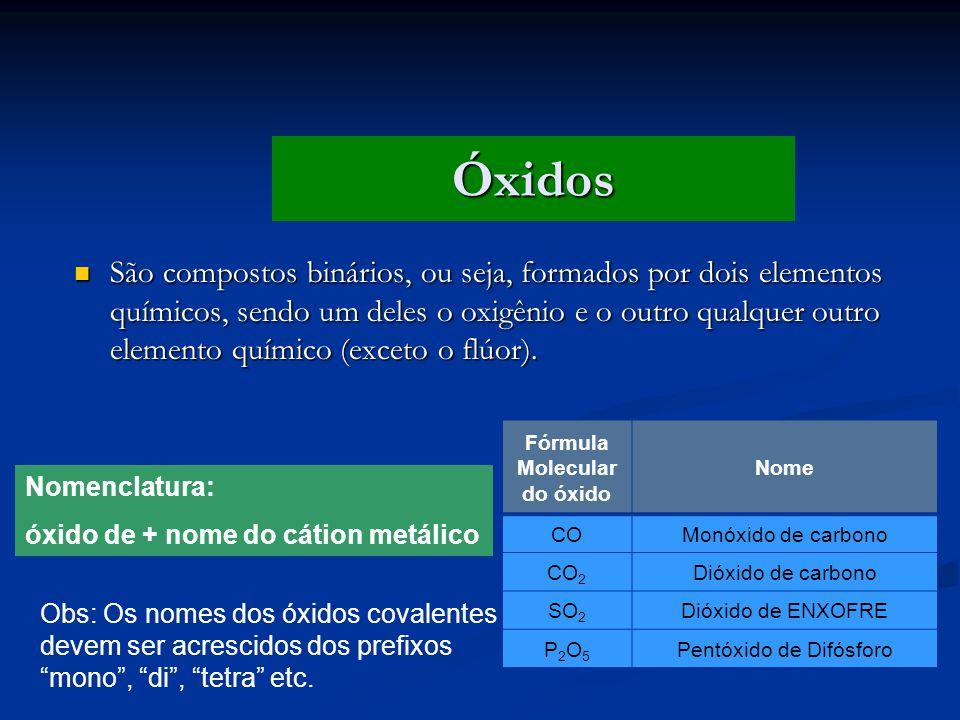 Fórmula Molecular do óxido