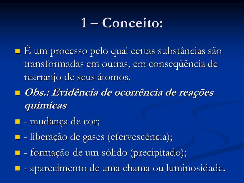 1 – Conceito: É um processo pelo qual certas substâncias são transformadas em outras, em conseqüência de rearranjo de seus átomos.