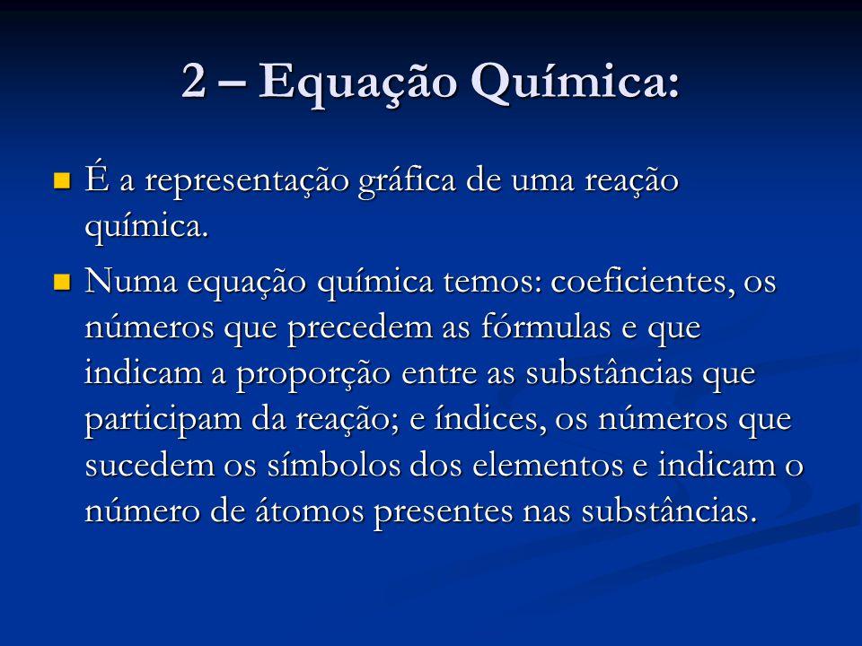 2 – Equação Química: É a representação gráfica de uma reação química.
