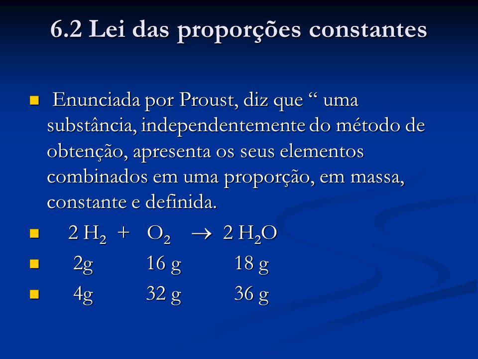 6.2 Lei das proporções constantes