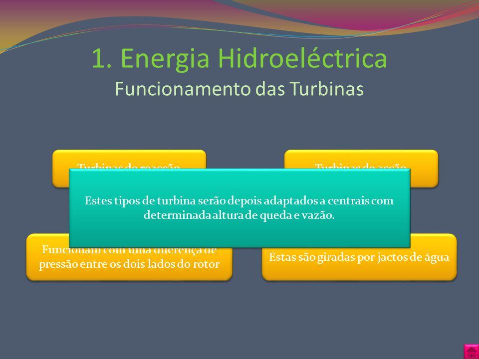 1. Energia Hidroeléctrica Funcionamento das Turbinas